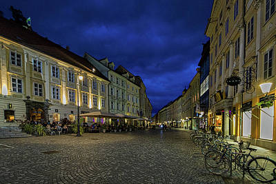 Photograph - Ljubljana Night Street Scene - Slovenia by Stuart Litoff