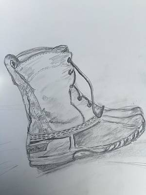 Maine Winter Drawing - Ll Bean Boot  by Chris Howe