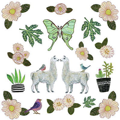 Mammals Royalty-Free and Rights-Managed Images - Llama and Luna Moth Pattern by Blenda Studio