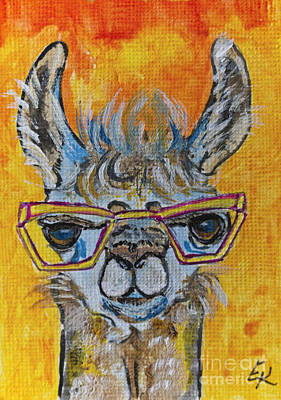 Painting - Llama Geeky Colorful Art by Ella Kaye Dickey