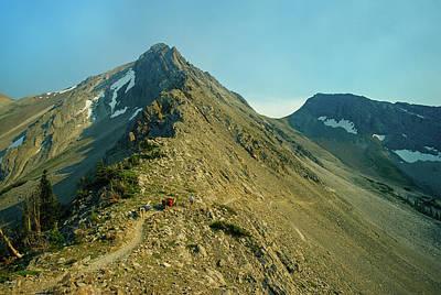 Llama Photograph - Llama Packer Hiking A Steep Rocky Mountain Peak Trail by Jerry Voss