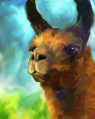 Llama Painting - Llama Portrait by Jai Johnson