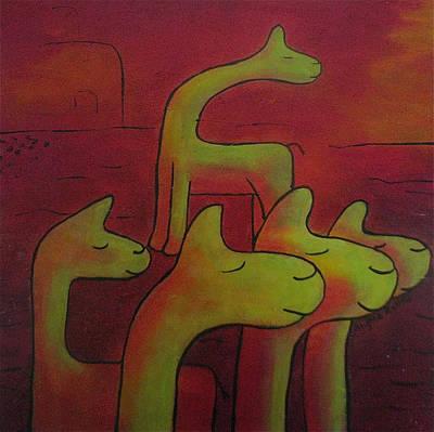Llamas Looking Art Print by Ingrid Russell