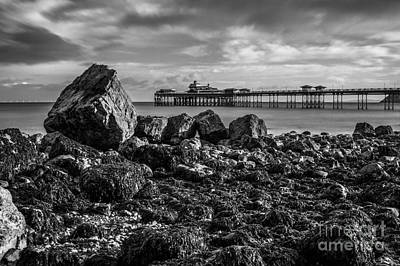 Wales Digital Art - Llandudno Pier In Monochrome  by Chris Evans