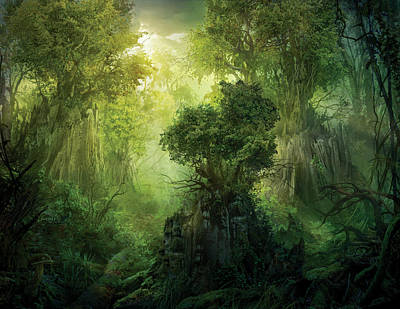 Enchanted Painting - Llanowar Reborn by Philip Straub