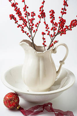 Red Berries Photograph - Llex Berries In Pitcher by Garry Gay