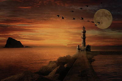 Photograph - Llight House By Moonlight by Andrea Kollo