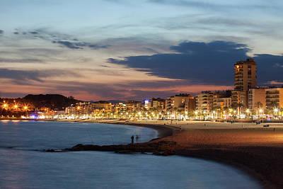 Lloret De Mar Skyline And Beach At Dusk Art Print
