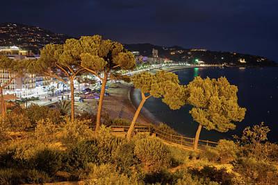 Lloret De Mar Town At Night In Spain Art Print
