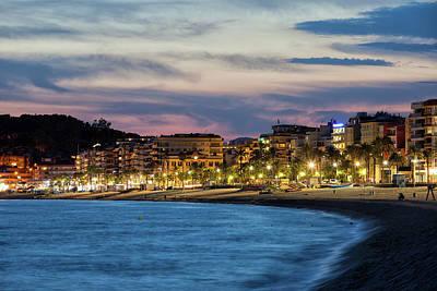 Lloret De Mar Town At Twilight In Spain Art Print