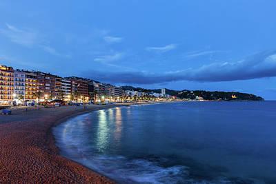 Lloret De Mar Town In Spain At Dusk Art Print