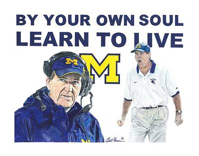 University Of Michigan Mixed Media - Lloyd Carr by Chris Brown
