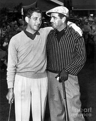 Photograph - Lloyd Mangrum, Milt Wershow, Golfers  Pebble Beach National Pro- by California Views Mr Pat Hathaway Archives