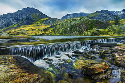 Mixed Media - Llyn Ogwen Weir And Tryfan by Ian Mitchell
