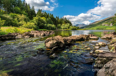 Bank Clouds Hills Photograph - Llynau Mymbyr Lakes In Snowdonia by Adrian Evans