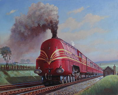 Streamliner Painting - Lms Stanier Pacific by Mike  Jeffries