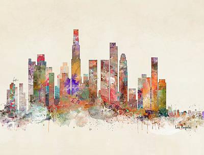Painting - Loa Angeles Skyline by Bleu Bri