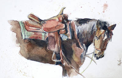 Chestnut Dun Horse Painting - Load Up by Kelsey Langlois