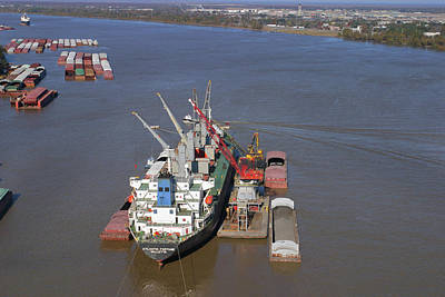 Photograph - Loading Barges From A Ship In New Orleans by Garry McMichael