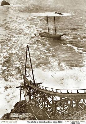 Photograph - Loading Chute Bixby Landing  Aka Hamilton's Landing At Mill Creek 1885 by California Views Mr Pat Hathaway Archives