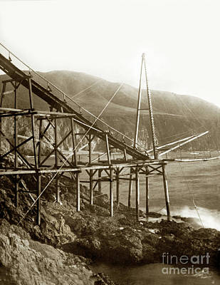 Photograph - Loading Chute At Bixby Landing And Creek Circa 1885 by California Views Mr Pat Hathaway Archives