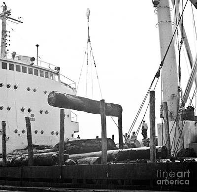 Photograph - Loading Logs At The Port Of Olympia 1965 by Ron Allen