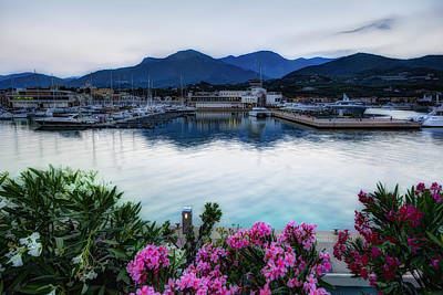 Photograph - Loano Sunset Over Sea And Mountains With Flowers by Enrico Pelos