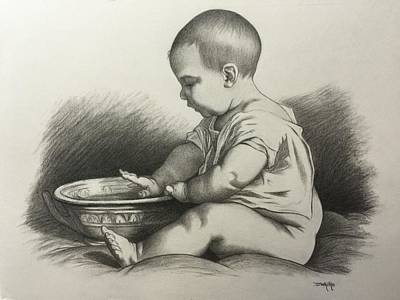 Drawing - Study Of A Baby After Timoleon Lobrichon by Dee Dee  Whittle