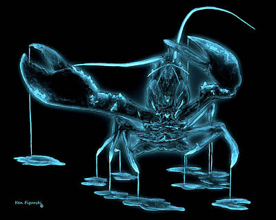 Blue Crab Mixed Media - Lobster  Neon Colorful Art by Ken Figurski