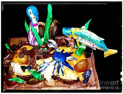 Blue Crab Mixed Media - Lobster And Crab Fighting Over A Diamond With An Audience by Kirk Wieland
