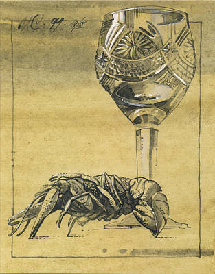 Drawing - Lobster And  Wineglass. Paradox Still Life by Igor Sakurov