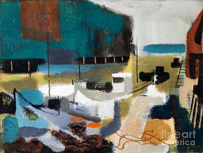 Painting - Lobster Boat At The Dock By Edgar A.batzell by Expressionistart studio Priscilla Batzell