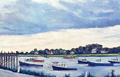 Cape Cod Painting - Lobster Boat Flotilla by Robert Harvey