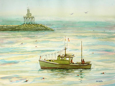 Painting - Lobster Boat Gloucester Breakwater by Carl Whitten