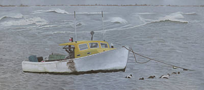 Pastel - Lobster Boat In Kettle Cove by Dominic White