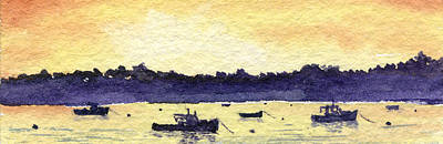 Cape Cod Painting - Lobster Boat Sunset by Heidi Gallo
