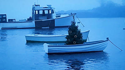 Photograph - Lobster Boats And Dinghys Decked For Christmas by Jeff Folger