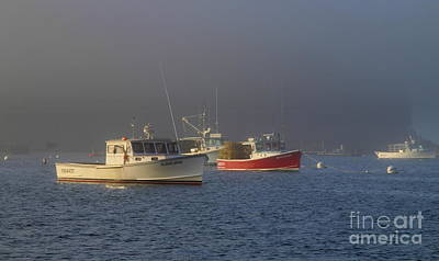 Photograph - Lobster Boats In Evening Mist by Lennie Malvone