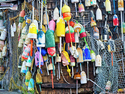 Photograph - Lobster Buoys And Nets - Maine by Steven Ralser
