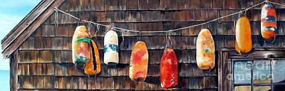 Painting - Lobster Buoys, Nova Scotia by Anna-maria Dickinson