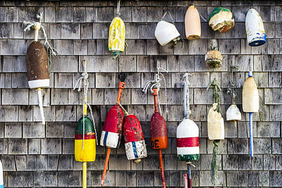 Photograph - Lobster Buoys On Wall, York, Maine by Steven Ralser