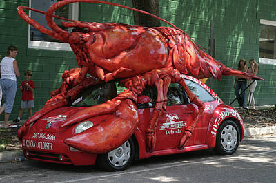 Lobster Car Art Print by Carl Purcell