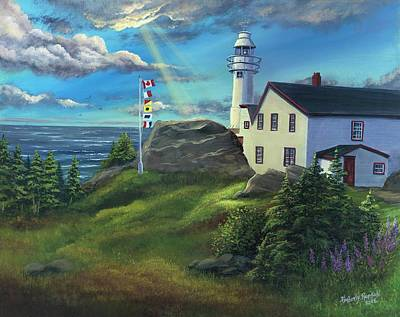 Head Harbour Lighthouse Painting - Lobster Cove Head Lighthouse, Rocky Harbour, Nl by Kimberly Ropson