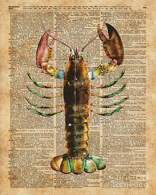 Tapestries - Textiles Mixed Media - Lobster Crustacean Mediterranean Sealife Vintage Dictionary Art Collage by Jacob Kuch