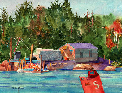 Lobster Dock At Isle Au Haut. Print by John Ressler