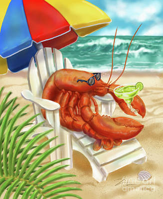 Mixed Media - Lobster Drinking A Margarita by Shari Warren