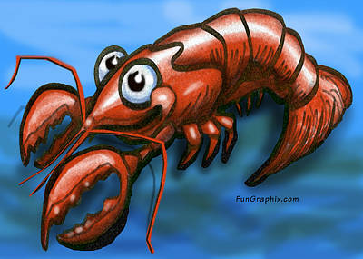 Crawfish Greeting Card - Lobster by Kevin Middleton