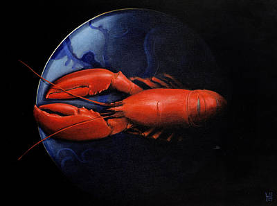 Lobster On Tiffany Plate Art Print by Lincoln Seligman