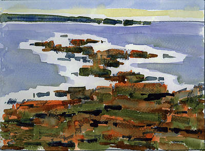 Ogunquit Marginal Way Painting - Lobster Point, Marginal Way, Ogunquit, Me by Mary Byrom