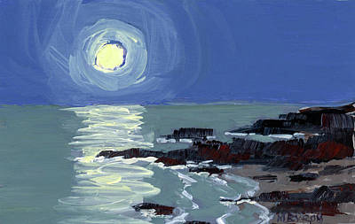 Ogunquit Marginal Way Painting -  Lobster Point Moon by Mary Byrom